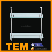 Durable Safe Stainless Steel 2 Layers Glass Shelf