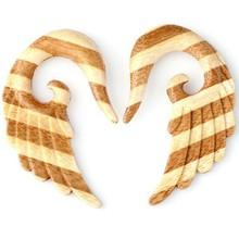 Seraphin Sawo Angel Wings Plug Stripe Organic Wood Ear Gauge Handmade Carved Piercing
