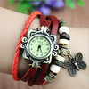 2015 new design butterfly shaped braided leather bracelet watches,antique ladies watch