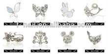 2013 Newest Silver 3D Carve Alloy Rhinestones Bow Tie Nail Art DIY Decorations
