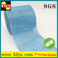 sky blue 24 rows plastic net mesh trimming christmas decoration crystal mesh for wedding cake stand