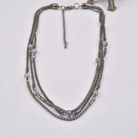 N13885-01Gun Black Chain Mulit-layer Strings Statement Women Necklace