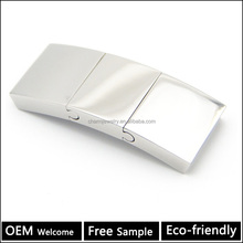 BX057 Wholesale 316L steel jewelry finding custom rectangle stainless magnetic clasp for flat leather cord bracelet