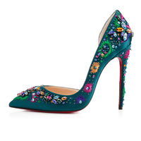 Jusity 2016 unique design red and green latest high heel italian ladies shoes for girls