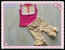 Boutique Remake Summer Baby Stylish Girl Suit Sleeveless Top and Double Ruffle Capris Clothing Outfit