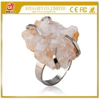 Natural Real Drusy Agate Rings Gemstone Ring with adjustable metal women finger jewelry