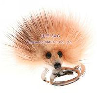 BG30428 Free Shipping Real Mink Fur Keychain Car keychains Hedgehogs Hangs Plush Small Keychains