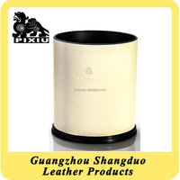 Excellect Handmade Office Leather Cover Wholesale Waste Bin