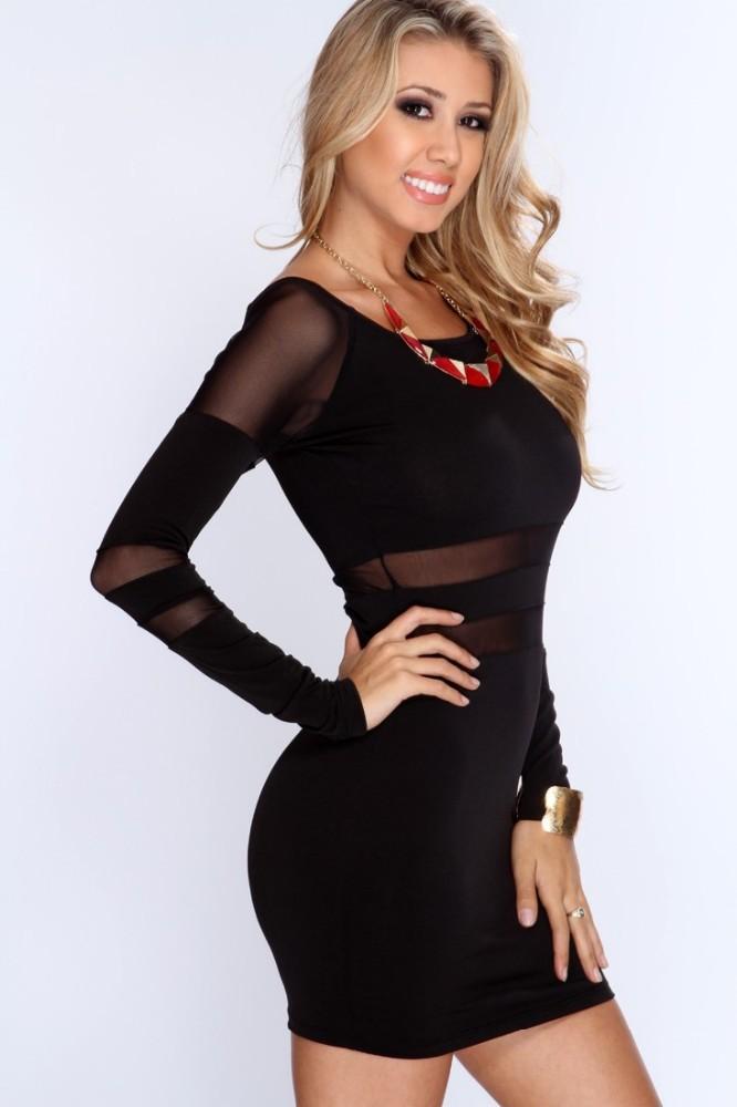 Nuevo 2015 mujeres negro cuello redondo Sexy vestidos cortos de manga larga de la cintura Translucence vestir