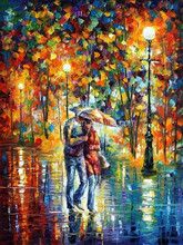Two Lovers Brace Firmly Walking under an Umbrealla in the Rain Romantic Knife Oil Painting