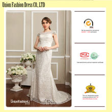 Modern style ivory lace wedding dresses long tail and cap sleeve sexy low back lace wedding dress china alibaba cheap wholesale