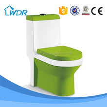 Hotel one piece new green design color enema one piece toilet ware