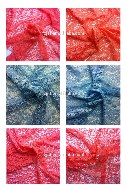 Lingerie échantillon de tissus de dentelle élastique thaïlande. filé tissus de dentelle pour la vente