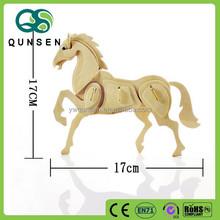 Educational kids toys 3d wooden horse puzzle