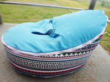 turqoise blue baby bean bag chair with 2 tops, two upper cover harnessed beanbag sofa seat