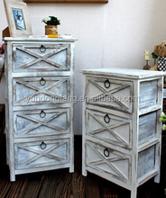 European India antique art white cheap home furniture Corner chest of drawers with metal handles for decoration