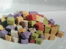 pet snack nutriment colored meat cube dry dog and cat food