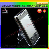 Clear Acrylic Cell Phone Holder For Desk Shop Retail Display Stand