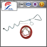 dog tie-out stake in wire rope with pvc coating