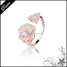 DLY Alibaba China Romantic Rose shaped Diamond engagement Ring Rose gold Ring Jewelry