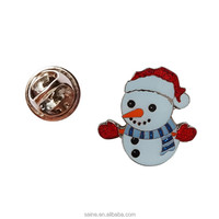Promotional craft made unique metal snowman Christmas gifts lapel pin badges