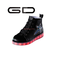 GD fashionable sequined top high LED super cool sneakers shoes for girls