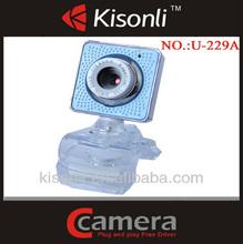 2014 clip de cristal de color azul libre webcams tipos de cámara web para pc