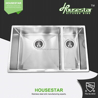 interior decoration stainless steel kitchen sink 71544 - 3 full handmade 1.2mm stainless steel double bowl kitchen sink utility