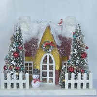 2014 Best selling Christmas Paper house with snowman, artificial chrismas tree, fence and wreath from Shenzhen China factory