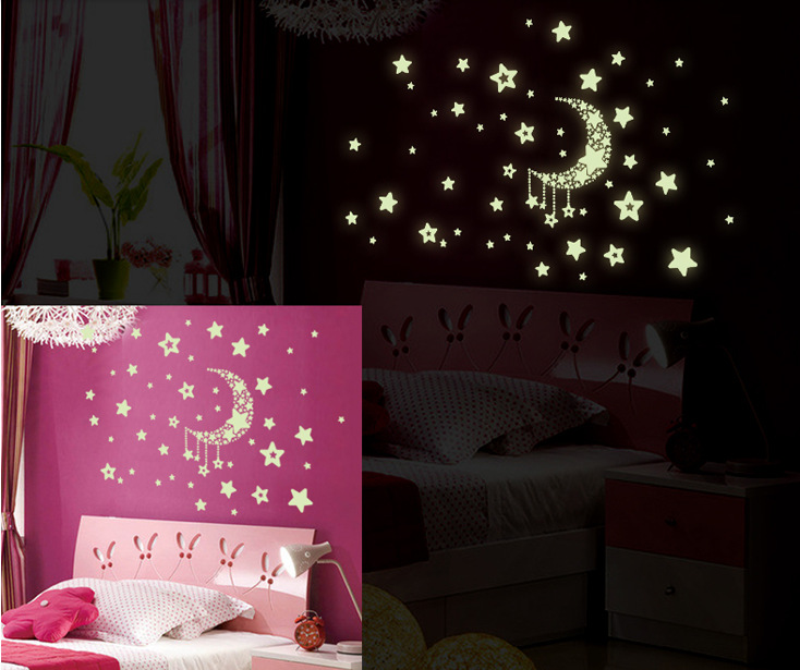 fluorescent moon and stars wall sticker room decoration for living room bedroom ebay. Black Bedroom Furniture Sets. Home Design Ideas
