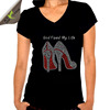 Red Bottom High Heel Shoes Custom Black Rhinestone Motif for T-shirt