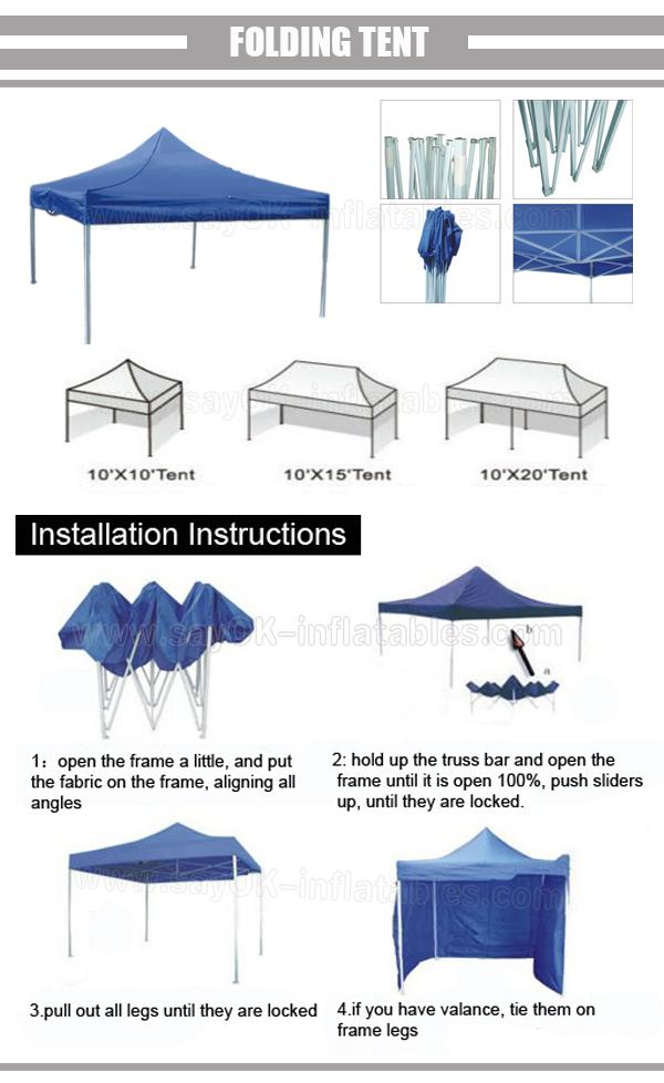 Folding Manual Assembly Gazebo Tent Instructions 3x3 Buy Folding