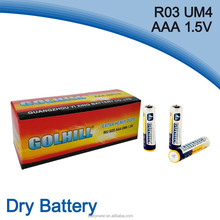 Mercury and cadmium-free UM4 R03 aaa size 1.5v dry battery