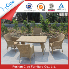 Dubai balcony outdoor furniture resin wicker dining tables and chairs for sale