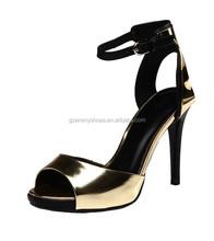 Gold Peep Toe Metal Ladies Sandals Sexy Thin Heels Women's High Heels Sandal Shoe Wear In Party
