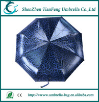 2015 fashion high quality fabric fiberglass frame automatic windproof 3 folding umbrella
