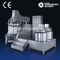 Fixed pot and helical ribbon mixing homogenizer with internal and external SME-B/E series vacuum emulsifying mixer machine
