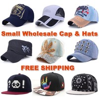 Small wholesale boys and girls baseball caps snapback hip hop kids fashion hats sold in small quantities (SU-HPS0001)