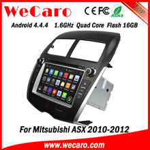 Wecaro Android 4.4.4 car stereo 1024 * 600 for mitsubishi asx car audio system android 16GB rom 2010 2011 2012