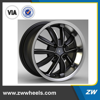 Deep dish machined face black alloy wheel rim 13 inch 14 inch 15 inch (ZW-P255)
