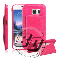 Wholesale Popular flip kickstand leather case with card pocket on back for s6 leather case mobile phone case cover
