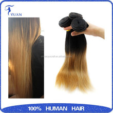 Human Remy Hair weave Two Tone Color 100g/piece Hair Extension /Ombre Color Remy Hair Weft