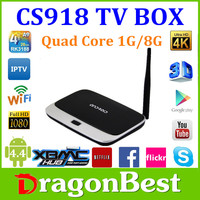 RK3188 up to 1.8GHz ARM Android Cs918 Tv box 4.2 Quad-Core Cs918 Smart Ip Tv Box Rockchips