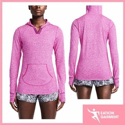 polyester/spandex comfortable and lightweight sports hoodie with pocket