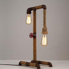 Vintage industrial rusty water pipe bedside table lamp with handmade hemp rope