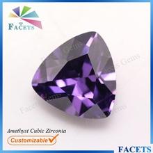 Facets Gems Wholesale Price Man Made Amethyst Cubic Zirconia Stone Trillion Cut Amethyst