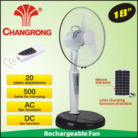 Summer Stand plastic emergency ac/dc rechargeable fan with light battery