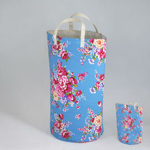 Foldable Floral Canvas Laundry Bag