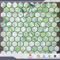 hexagon mosaic honeycomb mosaic tile green glass mosaic tile
