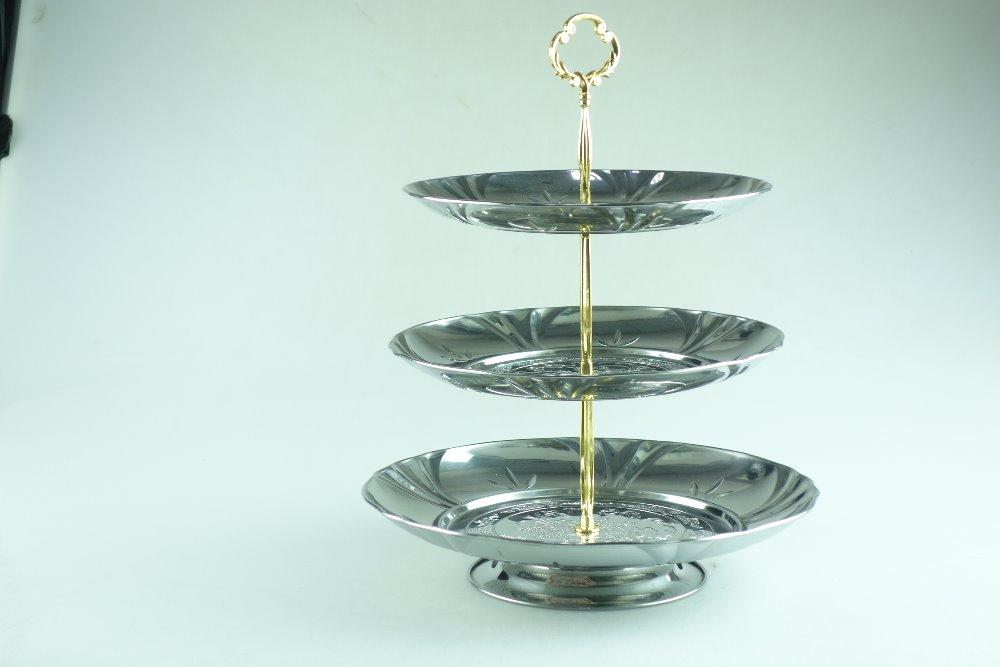 edelstahl metall blume platte pr sentierteller metall dekoration mit 3 schicht sch ssel und. Black Bedroom Furniture Sets. Home Design Ideas